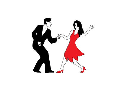 Dancers in white, red and black. 版權商用圖片 - 75901465