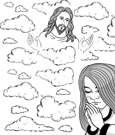 christian young: Prayer girl and Jesus in the sky Illustration