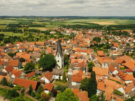 townhouses: Old Traditional German city. view from top.beautiful red roofs. Stock Photo
