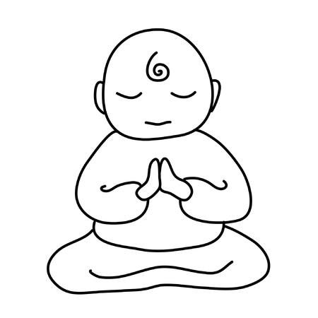 Monje budista icono. Ilustración de dibujos animados de monje budista icono vectorial para diseño web