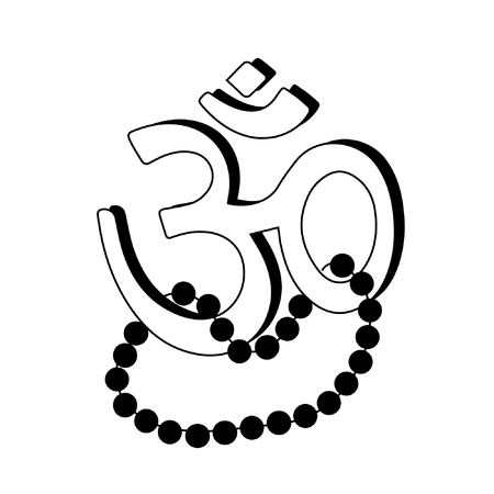 Om Aum - symbol of Hinduism flat icon with beads Illustration