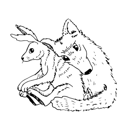 Cartoon valentine couple wolf hugs with a hare black and white