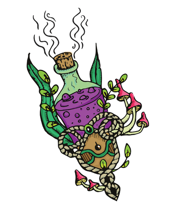 Magic purole potion in a bottle with mashrooms and plants.