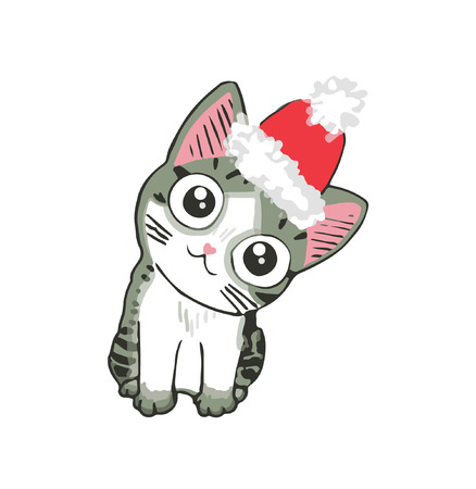 Cute kitten in a santa hat. Funny cat. Christmas illustration can be used for greeting cards