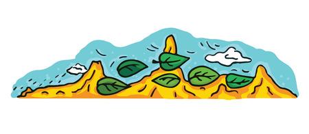 A cartoon desert and mountains landscape illustration vector