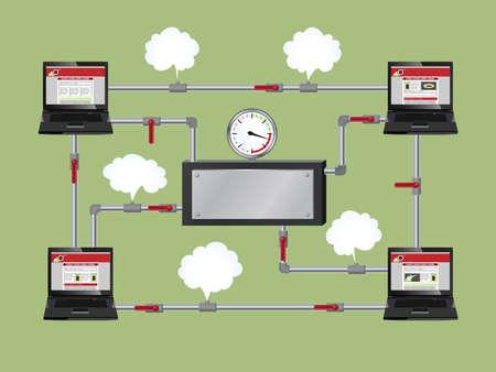 tuberias de agua: Ilustraci�n conceptual de la red de oficinas. Los ordenadores est�n conectados entre s� por tuber�as de agua