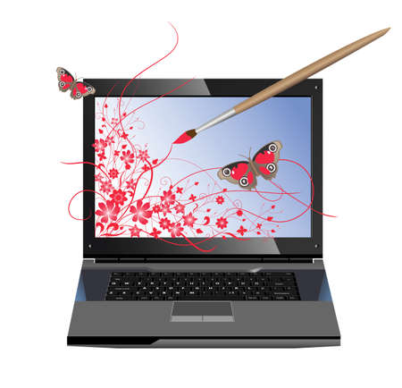 Conceptual illustration of computer graphics. The paintbrush draws flowers on the screen of laptop Vector