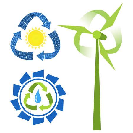 turbin: Återvinn energikällor - vatten, sol och vind. Begrepps ikoner Illustration