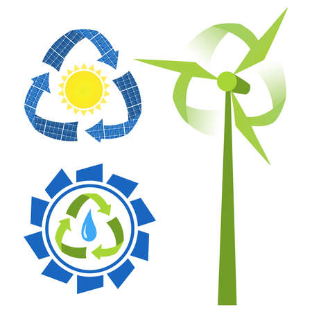 hydroelectric: Recycle sources of energy - water, sun and wind. Conceptual icons