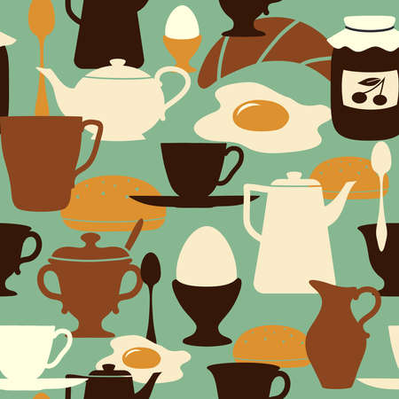 boiled eggs: Breakfast seamless pattern with traditional food and drinks.