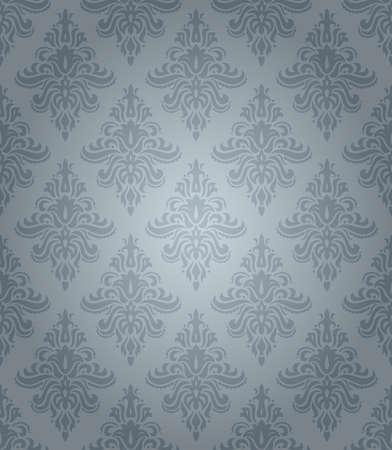 花の飾りと青いシームレスな古典的なパターン