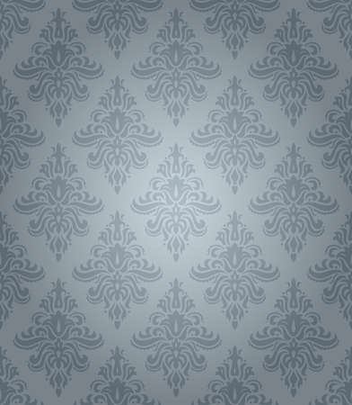 Blue seamless classic pattern with floral ornament Vector