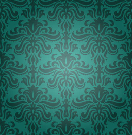 Sea green seamless classic pattern with floral ornament Vector