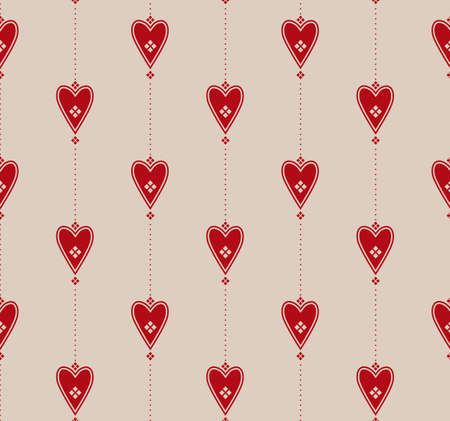 Elegant graphic seamless pattern with red hearts Vector