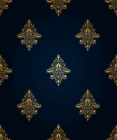 classicism: Gold seamless classic pattern with floral ornament on the blue background