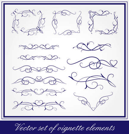 Vector set of vigmette elements for page and card decoration Vector