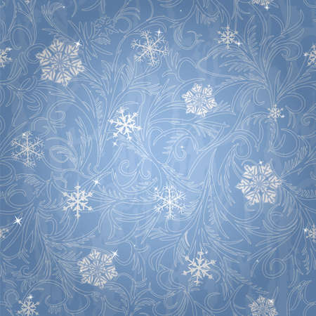 brilliancy: Snowflakes and frost patterns on the blue backgrounds. Seamless pattern Illustration