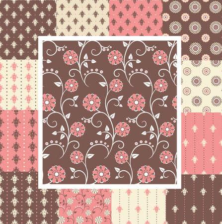 ピンクと茶色の色で華やかな花柄とのヴィンテージ シームレス パターンの素晴らしいキット  イラスト・ベクター素材
