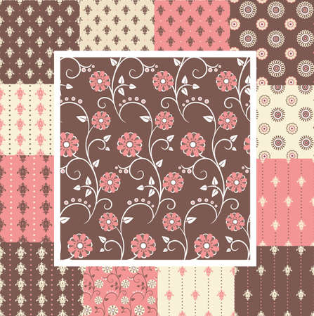 Great kit of vintage seamless patterns with floral ornate in pink and brown colors