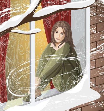 La triste mujer joven sentada en el alféizar de la ventana mirando hacia la calle cubierta de nieve Ilustración de vector