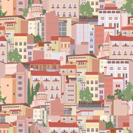 イスタンブールの住宅地域でのシームレスなパターン  イラスト・ベクター素材