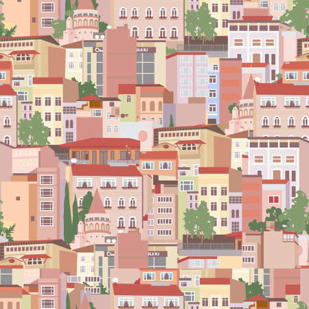 town houses capital: Seamless pattern with residential area of Istanbul  Illustration