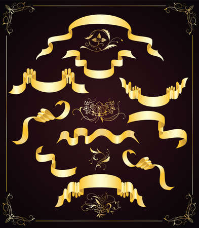 Set of elegant gold ribbons and design elements Vector