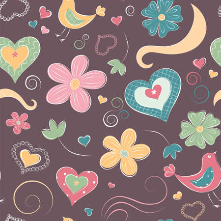 Cartoon seamless pattern with hearts and flowers