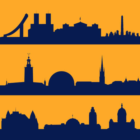 Set of line seamless patterns with  silhouette of Oslo, Stockholm and Helsinki. 矢量图像