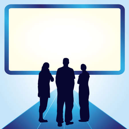Silhouettes of two woman and one man in front of the screen with place for your text Vector