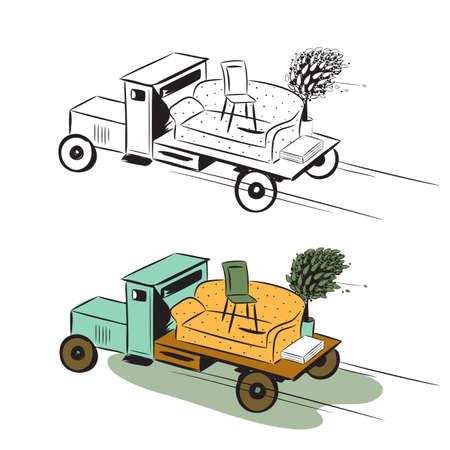 カラー画像とスケッチの移動の概念の家具とトラック  イラスト・ベクター素材