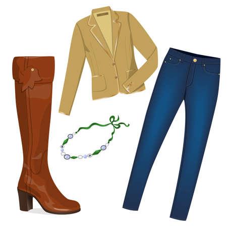 dress coat: Realistic giacca moderna, jeans, stivale alto e collana, isolato su bianco