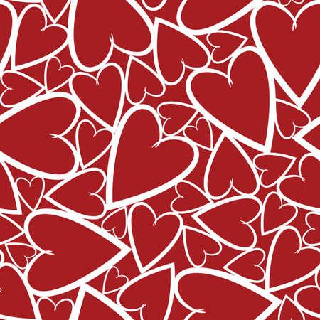 心を赤の背景に明るいのシームレスなパターン  イラスト・ベクター素材