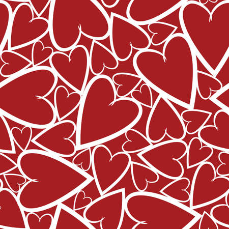 Bright seamless pattern with hearts on the red background