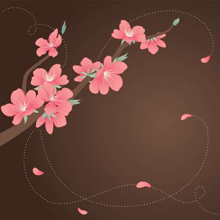 peach tree: Greeting card with stylized blooming branch of the peach