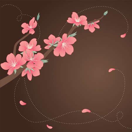virágzó: Köszönés, kártya, stilizált virágzó ága a barack