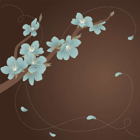 Greeting card with stylized blooming branch of the peach Vector