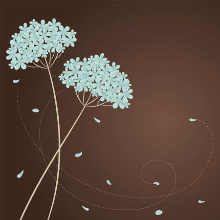 Greeting card with blue flowers and place for text Illustration