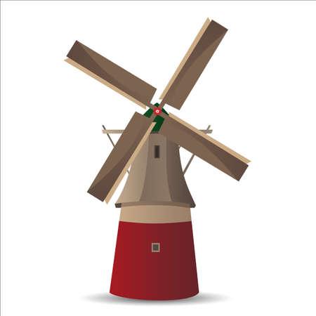 the netherlands: Vector illustratie van de molen of windmolen, traditionele Nederlandse stijl Stock Illustratie