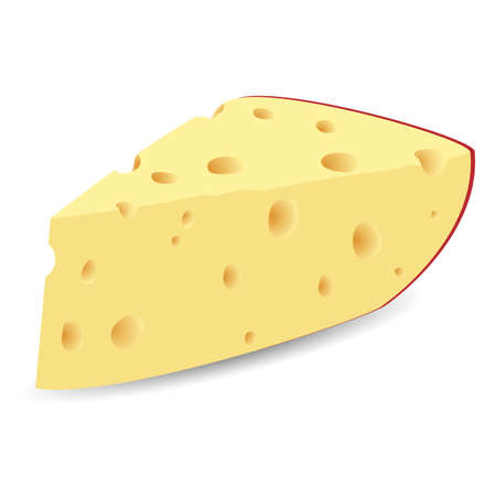 Realistic vector illustration of the piece of fresh cheese