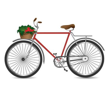 one vehicle: Vector illustration of the retro bicycle with basket of vegetables