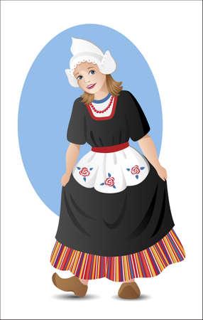 전통적인 네덜란드 민속 의상을 입은 젊은 아가씨 일러스트