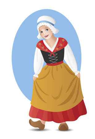 Young lady in traditional french folk costume Vector