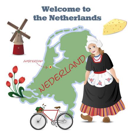MOLINOS DE VIENTO: Vector conjunto con el mapa y los símbolos de los Países Bajos Vectores