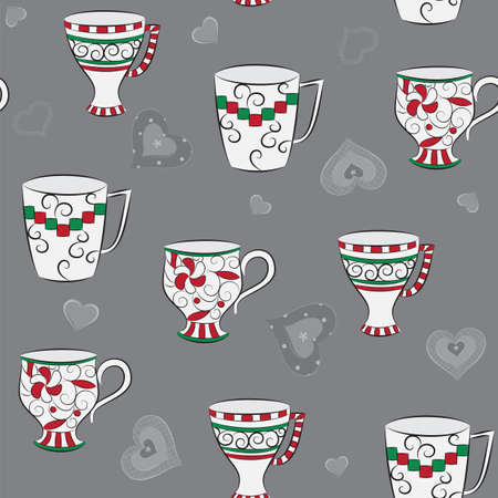 Delicate seamless pattern with hand-drawn cups and hearts Vector