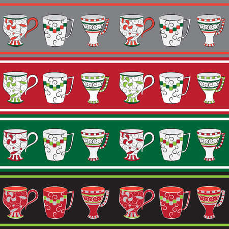 Set of seamless line patterns with cups in retro style Vector