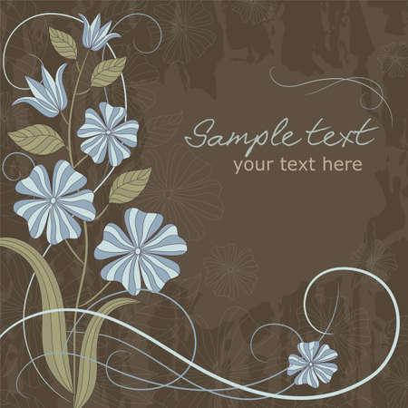 繊細な青い花と場所で用カード本文