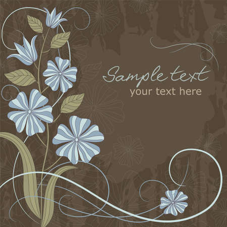 Delicate card with blue flowers and place for text Vector
