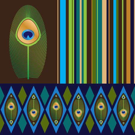 孔雀 s の羽を持つ 2 つのシームレスなパターンとストライプ