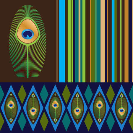 Two seamless patterns with peacock s feathers  and striped  Vector